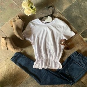 Zara White Short Sleeve Blouse